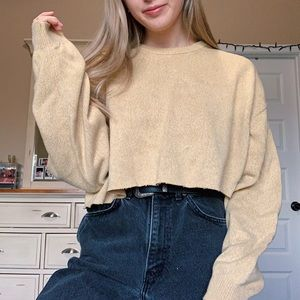 Canary Yellow Cropped Vintage Sweater
